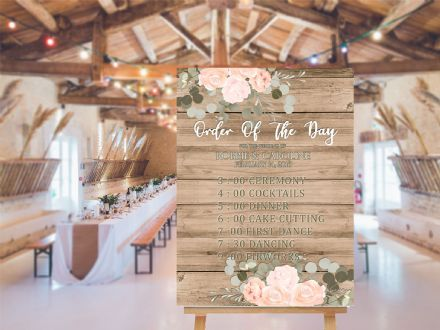 Wedding order of day   -  Extra Large  Metal Wall Sign